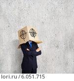 Businessman with box on head. Стоковое фото, фотограф Sergey Nivens / Фотобанк Лори
