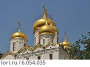 Купить «Золотые купола Благовещенского собора в Московском Кремле солнечным летним днем», эксклюзивное фото № 6054035, снято 7 июня 2014 г. (c) lana1501 / Фотобанк Лори