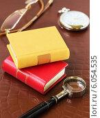 Книги, лупа, очки и часы на фоне кожи. Стоковое фото, фотограф Елена Медведева / Фотобанк Лори
