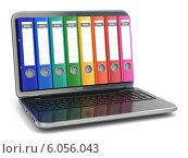 Купить «Data storage. Laptop with file ring binders.», фото № 6056043, снято 14 ноября 2019 г. (c) Maksym Yemelyanov / Фотобанк Лори