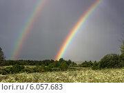 Купить «Двойная радуга в небе над полем», фото № 6057683, снято 25 июня 2014 г. (c) Любовь Назарова / Фотобанк Лори