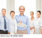 Купить «young businesswoman with dollar cash money», фото № 6058943, снято 15 апреля 2014 г. (c) Syda Productions / Фотобанк Лори
