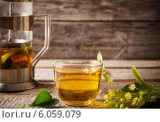 Купить «Kettle and cup of tea with linden on wooden background», фото № 6059079, снято 28 июня 2014 г. (c) Майя Крученкова / Фотобанк Лори