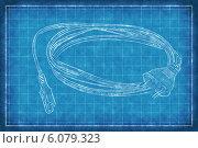 Купить «Свёрнутый электрический провод, белый рисунок на синем фоне», фото № 6079323, снято 20 ноября 2019 г. (c) Станислав Парамонов / Фотобанк Лори