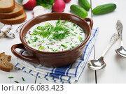 Купить «Вегетарианская окрошка с кефиром на столе», фото № 6083423, снято 2 июля 2014 г. (c) Надежда Мишкова / Фотобанк Лори