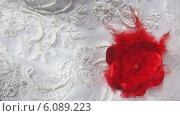 Красный цветок на белом свадебном платье. Стоковое фото, фотограф Ирина Каралкина / Фотобанк Лори