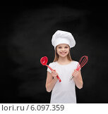 Купить «smiling girl in cook hat with ladle and whisk», фото № 6097359, снято 9 апреля 2014 г. (c) Syda Productions / Фотобанк Лори