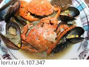 Купить «Крабовый суп с мидиями и кмином», фото № 6107347, снято 18 июля 2006 г. (c) Робул Дмитрий / Фотобанк Лори