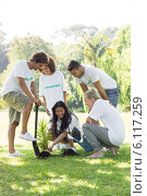 Купить «Volunteers planting», фото № 6117259, снято 12 ноября 2013 г. (c) Wavebreak Media / Фотобанк Лори