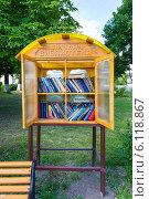 Купить «Уличная библиотека в Мосальске», эксклюзивное фото № 6118867, снято 4 июля 2014 г. (c) Сергей Лаврентьев / Фотобанк Лори