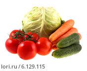 Купить «Свежие овощи на белом фоне», фото № 6129115, снято 12 июля 2014 г. (c) Литвяк Игорь / Фотобанк Лори