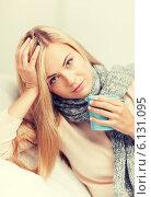 Купить «diseased woman with cup of tea», фото № 6131095, снято 30 марта 2013 г. (c) Syda Productions / Фотобанк Лори