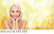 Купить «beautiful woman touching her face skin», фото № 6141191, снято 15 апреля 2014 г. (c) Syda Productions / Фотобанк Лори