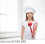 Купить «smiling girl in cook hat with ladle and whisk», фото № 6141243, снято 9 апреля 2014 г. (c) Syda Productions / Фотобанк Лори