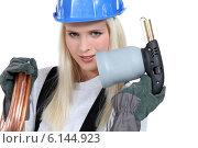 Купить «Female plumber», фото № 6144923, снято 29 октября 2010 г. (c) Phovoir Images / Фотобанк Лори