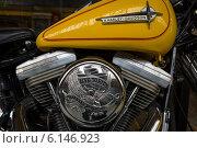 Купить «BERLIN, GERMANY - MAY 17, 2014: Detail of motorcycle Harley-Davidson. 27th Oldtimer Day Berlin - Brandenburg», фото № 6146923, снято 17 мая 2014 г. (c) Sergey Kohl / Фотобанк Лори