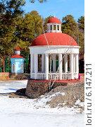 Купить «Беседка в парке Гагарина зимой, Челябинск», фото № 6147211, снято 11 апреля 2014 г. (c) Артём Крылов / Фотобанк Лори