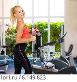 Купить «smiling beautiful sporty woman with dumbbells», фото № 6149823, снято 8 мая 2014 г. (c) Syda Productions / Фотобанк Лори
