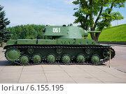 Купить «Советский тяжелый танк КВ-1. Вид сбоку», фото № 6155195, снято 15 июля 2014 г. (c) Виктор Карасев / Фотобанк Лори