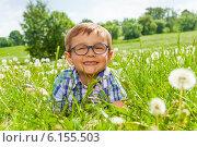 Купить «Улыбающийся мальчик в очках лежит на лугу с одуванчиками», фото № 6155503, снято 25 мая 2014 г. (c) Сергей Новиков / Фотобанк Лори