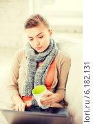 Купить «diseased woman in scarf using laptop at home», фото № 6182131, снято 1 июня 2013 г. (c) Syda Productions / Фотобанк Лори