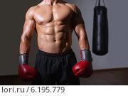 Купить «Mid section of a shirtless muscular boxer», фото № 6195779, снято 28 февраля 2014 г. (c) Wavebreak Media / Фотобанк Лори
