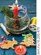 Купить «Композиция с праздничными рождественскими украшениями и вкусным печеньем», фото № 6200479, снято 22 июля 2014 г. (c) Николай Лунев / Фотобанк Лори
