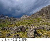 Пасмурное дождливое небо над горной тундрой. Восточные Саяны Бурятия. Стоковое фото, фотограф Виктор Никитин / Фотобанк Лори