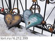 Купить «Два больших замка в форме сердца на металлической решётке», эксклюзивное фото № 6212399, снято 22 декабря 2012 г. (c) Dmitry29 / Фотобанк Лори