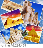 Купить «Коллаж достопримечательностей Египта», фото № 6224459, снято 23 июля 2019 г. (c) Vitas / Фотобанк Лори