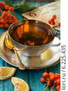 Серебряная чашка чая, ложка и ягоды рябины. Стоковое фото, фотограф Елена Медведева / Фотобанк Лори