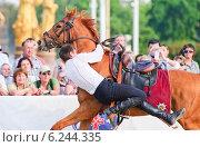Купить «Джигитовка на конном шоу Кремлевской Школы Верховой езды на ВДНХ», эксклюзивное фото № 6244335, снято 1 июля 2014 г. (c) Алёшина Оксана / Фотобанк Лори