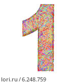 Купить «Цифра 1 из разноцветных линий на белом фоне», иллюстрация № 6248759 (c) Марат Утимишев / Фотобанк Лори