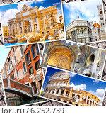 Купить «Коллаж из красивых видов итальянских городов. Рим, Флоренция, Пиза, Венеция», фото № 6252739, снято 16 октября 2018 г. (c) Vitas / Фотобанк Лори