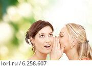 Купить «two smiling women whispering gossip», фото № 6258607, снято 29 сентября 2007 г. (c) Syda Productions / Фотобанк Лори