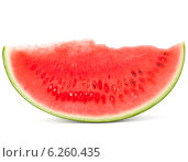 Купить «Sliced ripe watermelon isolated on white background cutout», фото № 6260435, снято 4 июня 2014 г. (c) Natalja Stotika / Фотобанк Лори