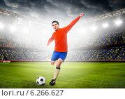 Футболист бьет по мячу. Стоковое фото, фотограф Сергей Петерман / Фотобанк Лори