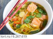 Купить «Мисо суп с лососем и луком-пореем», фото № 6267619, снято 27 июля 2014 г. (c) Марина Сапрунова / Фотобанк Лори