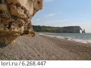 Пляж Этрета, скала д'Аваль (2014 год). Стоковое фото, фотограф Дмитрий Тужилин / Фотобанк Лори