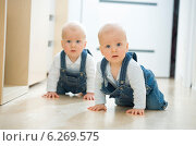 Купить «Baby twins crawling on the floor», фото № 6269575, снято 24 мая 2018 г. (c) BE&W Photo / Фотобанк Лори