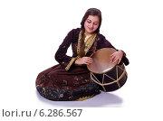 Купить «Young azeri woman playing traditional drum nagara», фото № 6286567, снято 28 февраля 2013 г. (c) Elnur / Фотобанк Лори