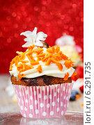 Купить «Beautiful cupcake decorated with orange sprinkles», фото № 6291735, снято 23 марта 2019 г. (c) BE&W Photo / Фотобанк Лори