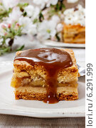 Купить «Pouring caramel sauce on piece of apple pie», фото № 6291999, снято 22 апреля 2018 г. (c) BE&W Photo / Фотобанк Лори