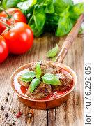 Купить «Meatballs in tomato sauce», фото № 6292051, снято 28 мая 2020 г. (c) BE&W Photo / Фотобанк Лори