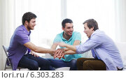 Купить «Smiling male friends with hands together at home», видеоролик № 6303283, снято 8 апреля 2014 г. (c) Syda Productions / Фотобанк Лори