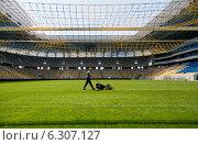 Купить «Maintenance of the lawn in the Arena Lviv, venue of the UEFA Euro 2012, Lviv, Ukraine», фото № 6307127, снято 3 мая 2012 г. (c) Caro Photoagency / Фотобанк Лори