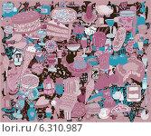 Еда и напитки, векторный фон в розовых тонах. Стоковая иллюстрация, иллюстратор Irene Shumay / Фотобанк Лори
