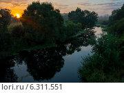 Восход солнца на речке. Стоковое фото, фотограф Александр Маркин / Фотобанк Лори