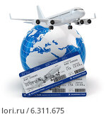 Купить «Travel concept. Airplane, earth and tickets.», иллюстрация № 6311675 (c) Maksym Yemelyanov / Фотобанк Лори