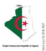 Купить «Карта Алжира в национальных цветах флага», иллюстрация № 6314167 (c) Александр Птах / Фотобанк Лори